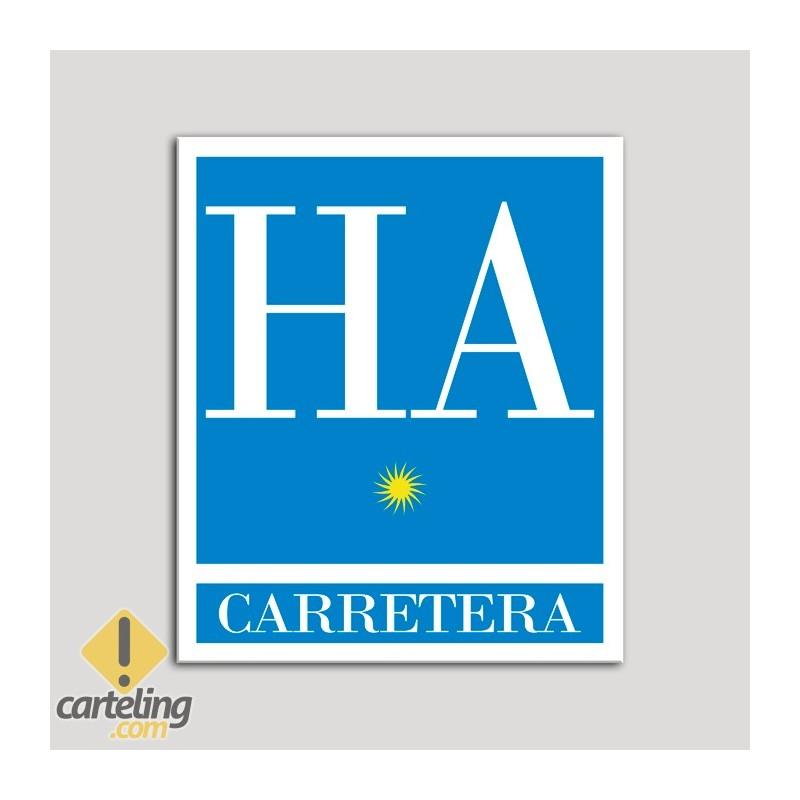 Placa distintivo Hotel - Apartamentos - Carretera - Una estrella - Oro .Andalucía.