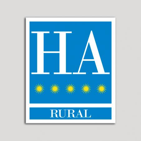 Placa distintivo Hotel - Apartamentos - Rural - Cinco estrellas - Oro .Andalucía.
