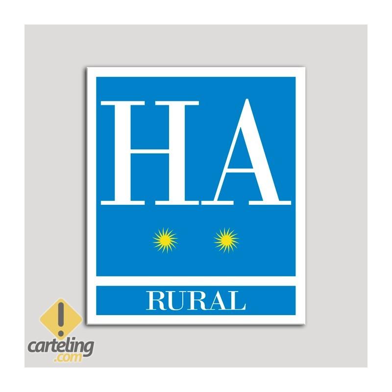 Placa distintivo Hotel - Apartamentos- Rural - Dos estrellas - Oro .Andalucía.