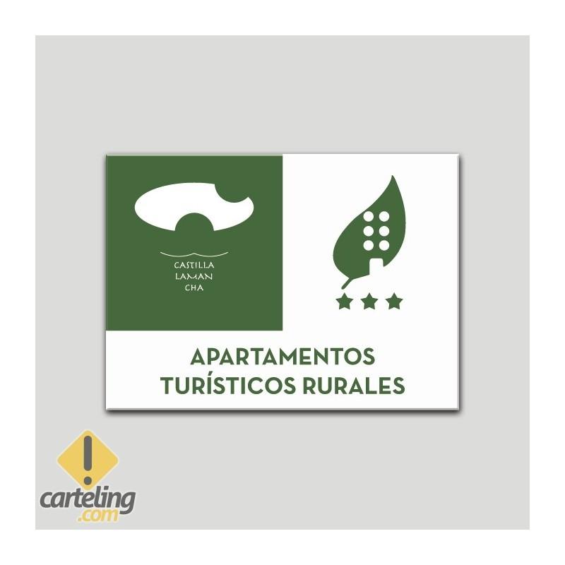 Placa distintivo Apartamentos turisticos rurales - Tres estrellas - Castilla y la Mancha.