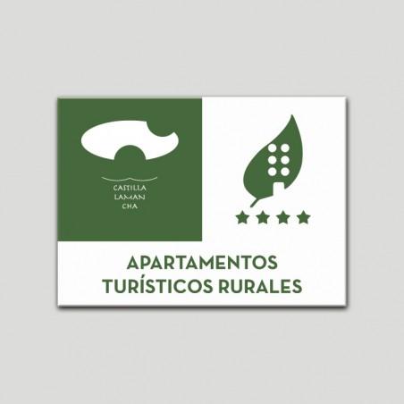 Placa distintivo Apartamentos turisticos rurales - Cuatro estrellas - Castilla y la Mancha.