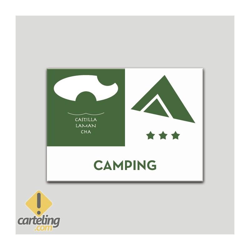 Placa distintivo - Camping - tres estrella - Castilla y la Mancha.