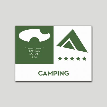 Placa distintivo - Camping - Cinco estrella - Castilla y la Mancha.