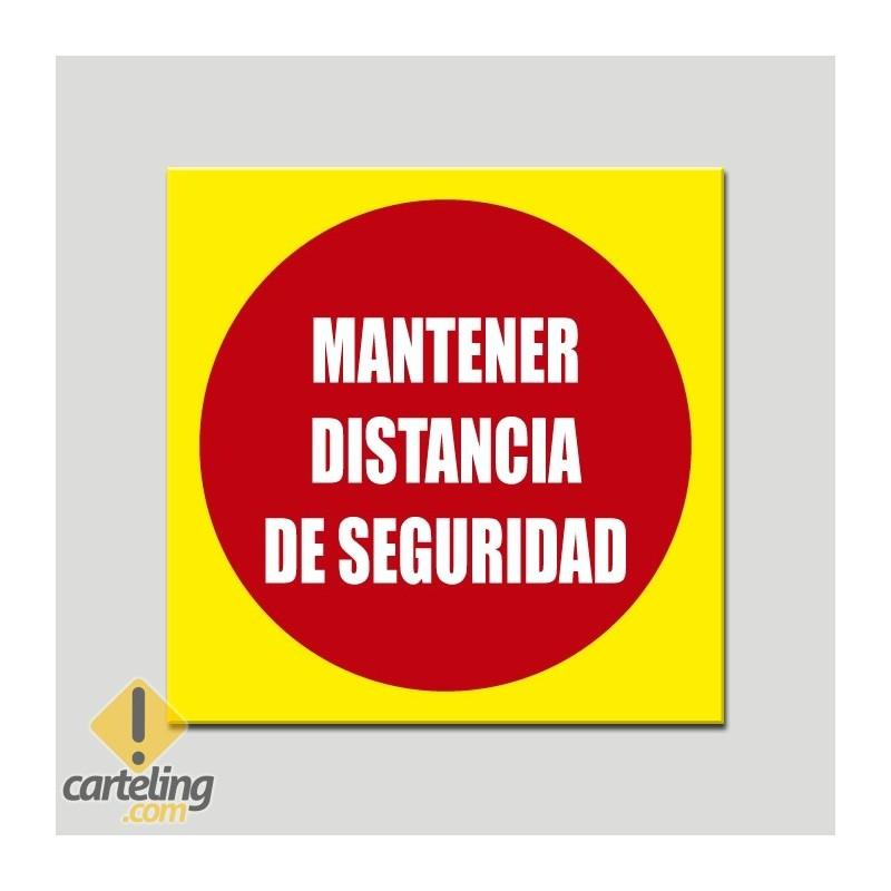 Cartel adhesivo distancia seguridad