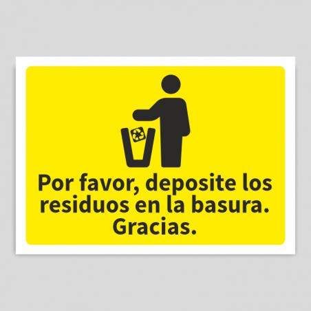 Cartel depositar residuos en la basura plásticos - envases