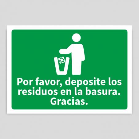 Depositar residuos en la basura vidrio