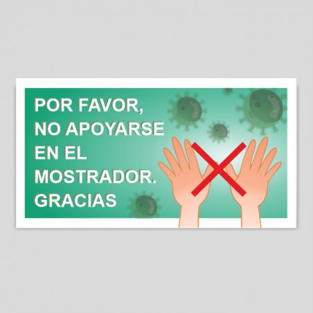 """Adhesivo / Pegatina  """"No apoyarse en el mostrador""""verde"""