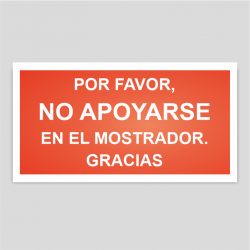 """Adhesivo / Pegatina """"No apoyarse en el mostrador"""" Rojo"""