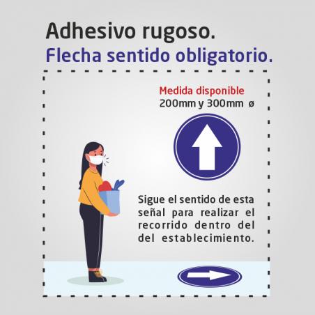 Flujo de clientes - sentido obligatorio - Adhesivo rugoso suelo