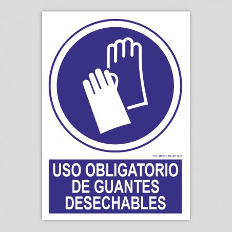 Uso obligatorio de guantes desechables